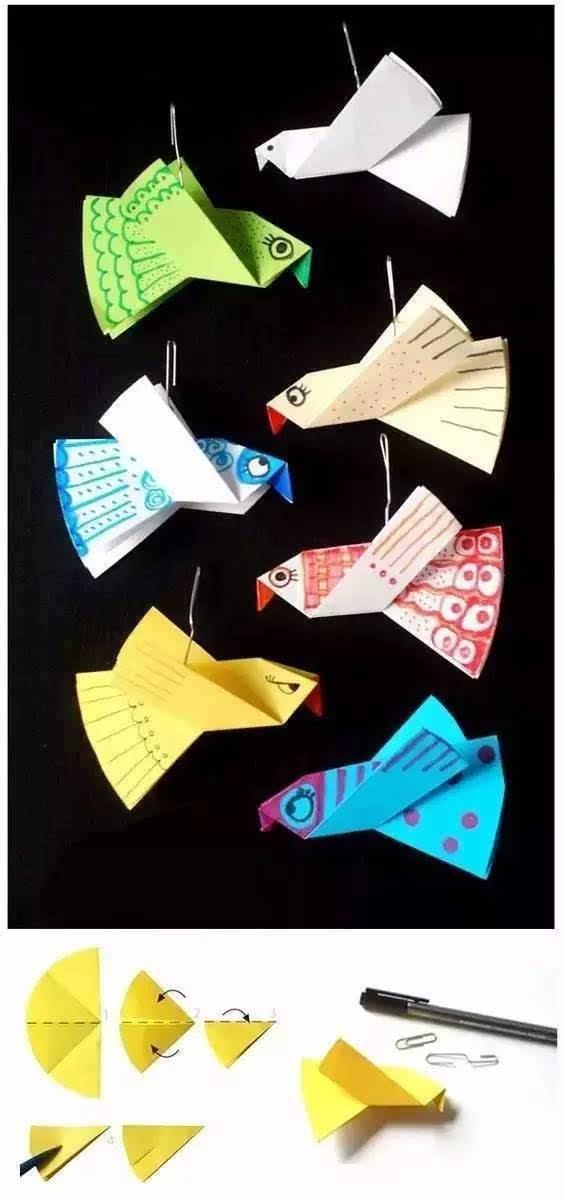 工具:剪刀,胶水 剪纸形状见图纸 大眼睛折纸 材料:a4白纸,彩色笔 步骤