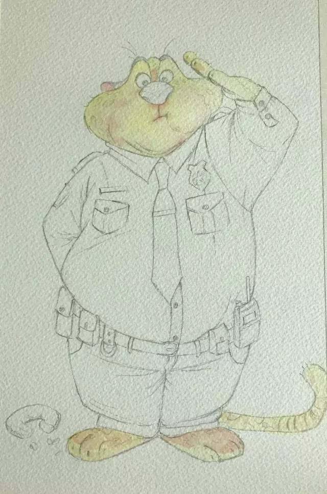 水彩全教程丨《疯狂动物城》贪吃的豹警官