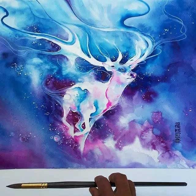 mulyono的梦幻主义色彩的水彩画作品,非常擅长画各种动物,多数以麋鹿