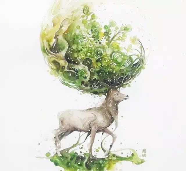 麋鹿与花手绘