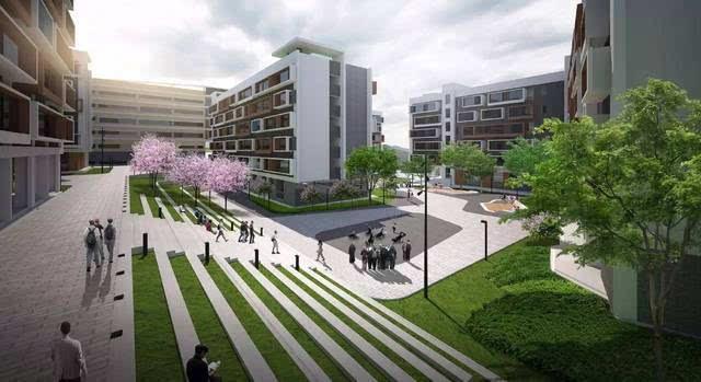 校园生态建筑景观_开面,用以绿化修复,作为外部自然山体渗透进校园建筑间的生态