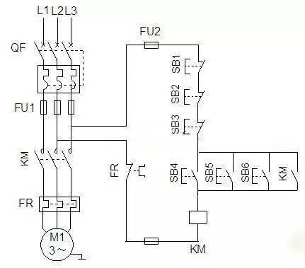 它包括有:点动线路,连续运转电路,正反转电路,多地控制线路,降压启动