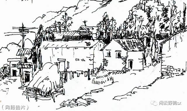 故乡的荷塘手绘彩铅