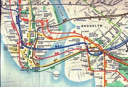 vignelli设计的地铁线路图是纽约历史上与伦敦最为相似的.图片