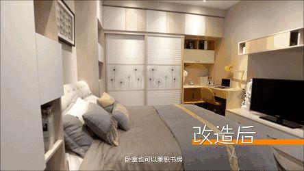 如果卧室空间还算宽敞,也可以合理利用转角位置 卧室的书桌,书柜与