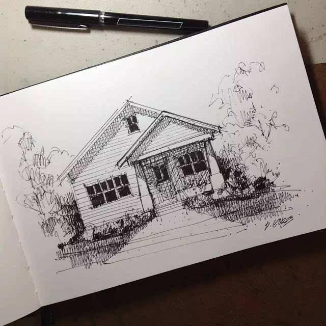 街景透视手绘简画
