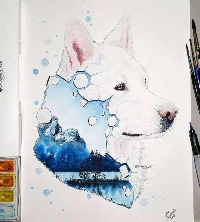 创意水彩丨她笔下的小动物太美了
