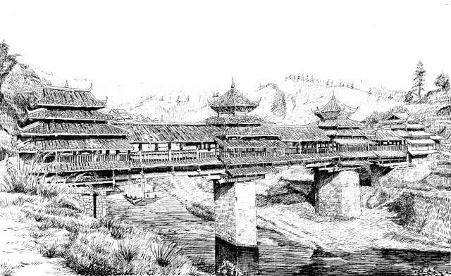 手绘古代建筑简单