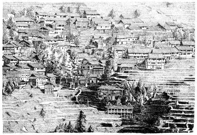 手绘  古代建筑 街道