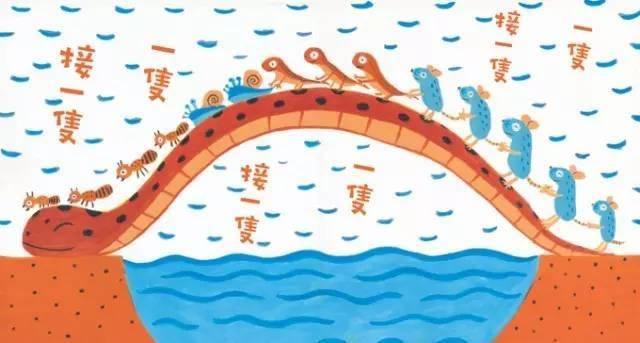 它用自己的身体搭成一座桥,帮助蚂蚁,蜗牛等小动物走到了对岸.