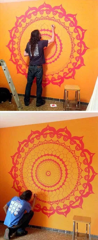 丙烯简单墙绘图片