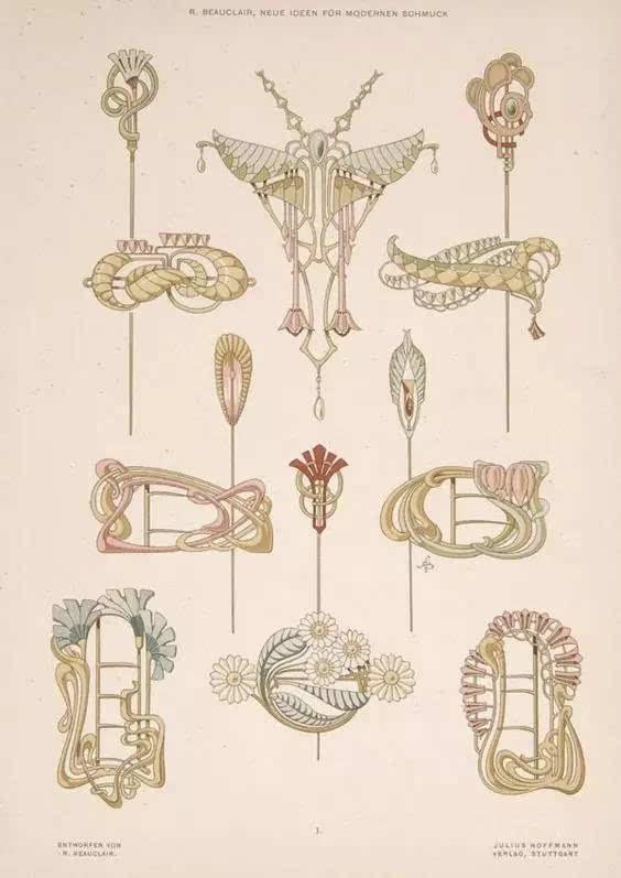art nouveau新藝術時期珠寶手繪 | 源于自然的曲線之美
