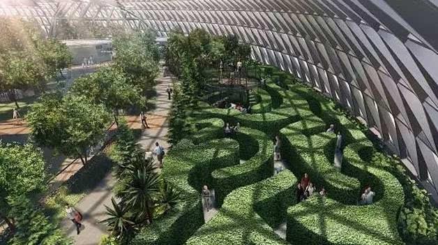 突破传统的设计理念, 包含了两个风格不同的迷宫:树篱迷宫和镜子迷宫