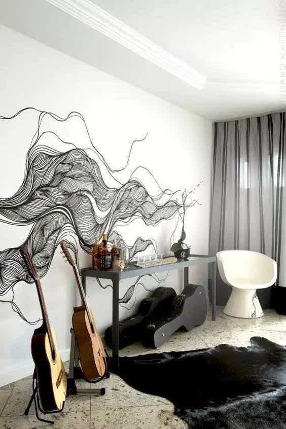 才绘画人像 一般多用在loft,或者工作室内 ▽ 【7】 / 墙绘 · 写实风