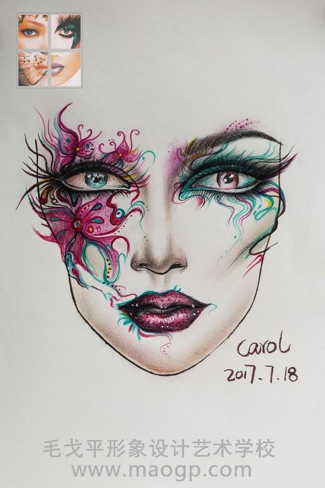 一款华丽丽的创意手绘美人图就完成了,你们喜欢吗?
