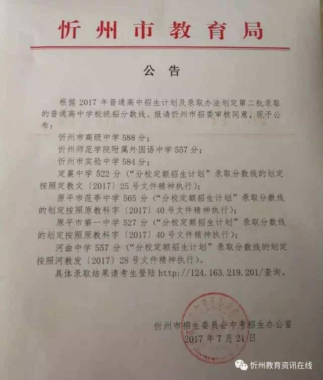 【v只有】2017忻州普通高中第二批录取统招分数线公布!次只有高中人生一作文图片