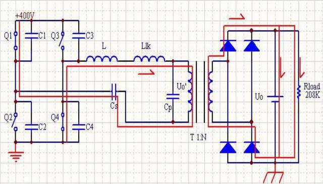 电路成功地利用了变压器分布电容和漏感作为谐振元件,实现了zvs软开关