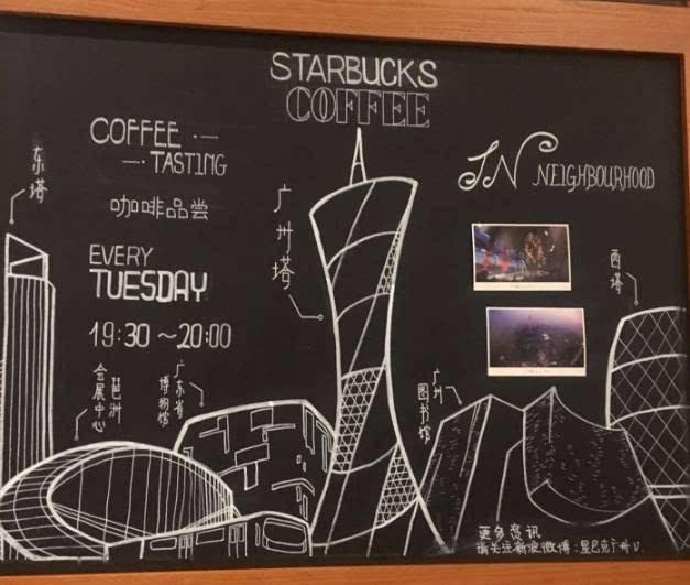 小黑板上画着广州塔,和周边标志性建筑图像,简单有力的表达着这是一间