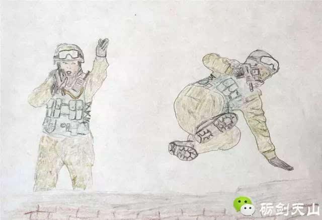 手绘画│大兵和小兵的故事