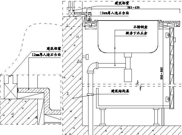 39,高窗台橱柜台面翻边施工示意图