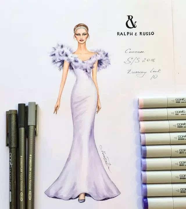 马克笔,彩铅的手绘礼服婚纱强势