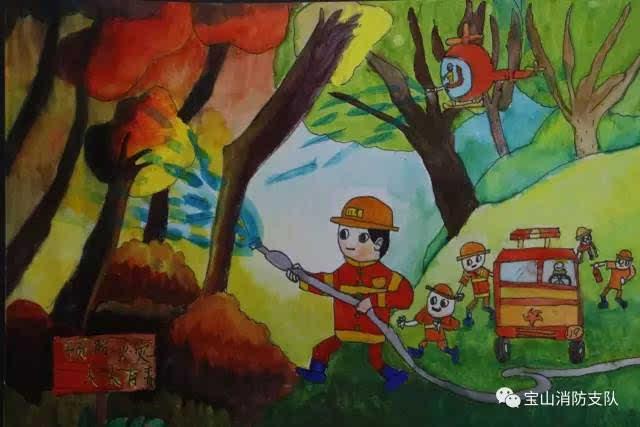 要是把消防员们换成小动物们,就可以做森林童话的插画了.