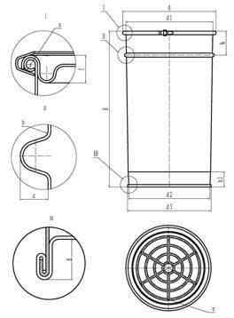 钢桶包装用户手册 -开口柱锥形钢桶的结构和尺寸