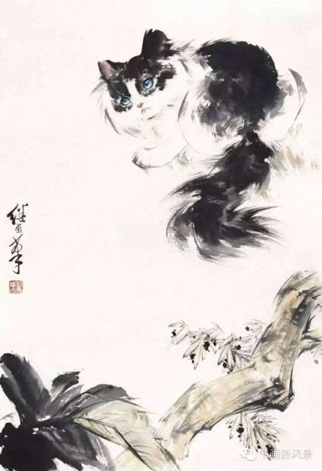 动物画一代宗师,是少有的工笔白描,重彩,小写意,大写意俱能的画家.