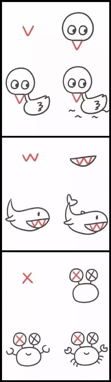 手账简笔画教程 | 26个英文字母画出的简笔动物画