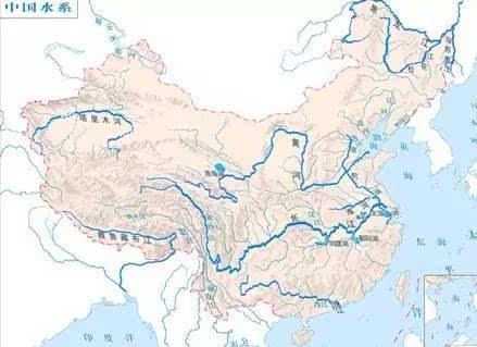 """这是一幅展开的中国地图,请问:""""这幅图上的河流有什么特点?"""""""
