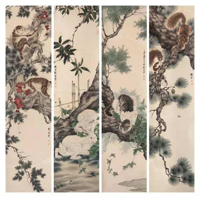 能工善写,擅长动物,植物,人物画及山水画,他描摹的动物种类之多,范围