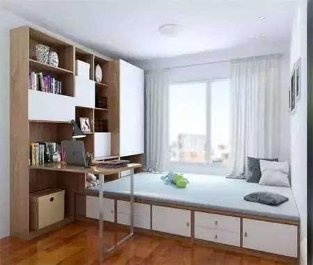 榻榻米没有床头,与柜子的组合,旁边角落再有隔板的写字区,增大了储物图片