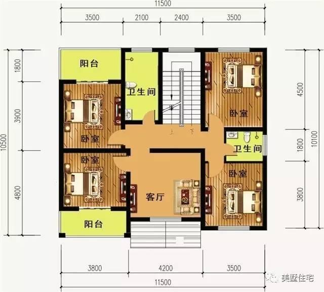 11x10米方正农村小别墅,室内布局非常适合农村实