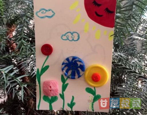 手工diy:用纽扣制作简单的小花朵儿贴画