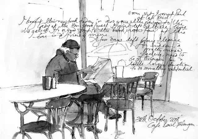 手绘图的方式 将旅行途中遇到的人事物记录下来 像这幅画中坐在咖啡厅