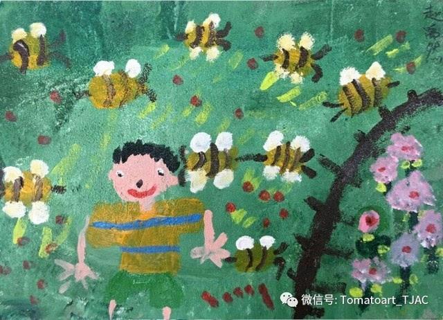 还画了几只小蜜蜂,因为小蜜蜂就是勤劳的小动物.