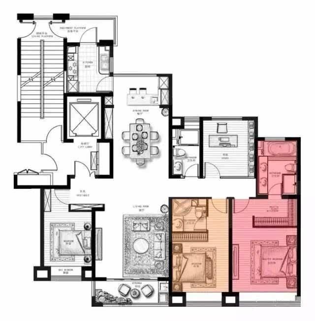 四室两厅两卫160㎡▼ 4面宽朝南,大开间,双套房设计 客厅餐厅厨房连通