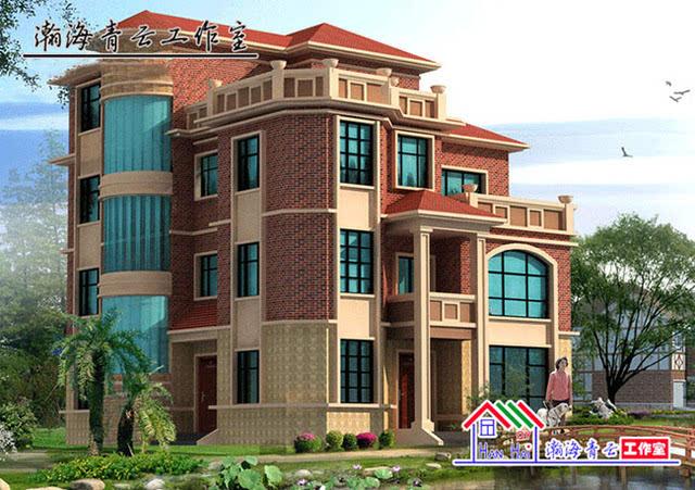 高端欧式四层别墅施工图,带圆弧大窗好有档次!
