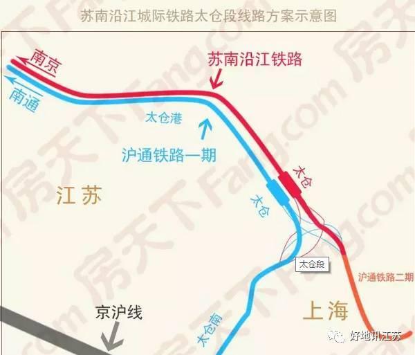 南沿江高铁太仓段线路走向公示 途径太仓4镇1区