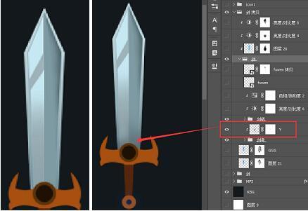 劍柄使用鋼筆工具繪制出一邊,另一邊鏡像繪制出來 再次把我們的所有劍圖片