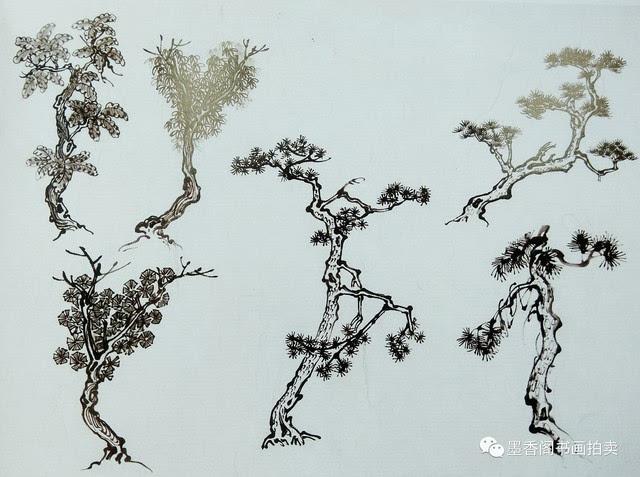 简单水墨画教案-国画入门教学 树的画法