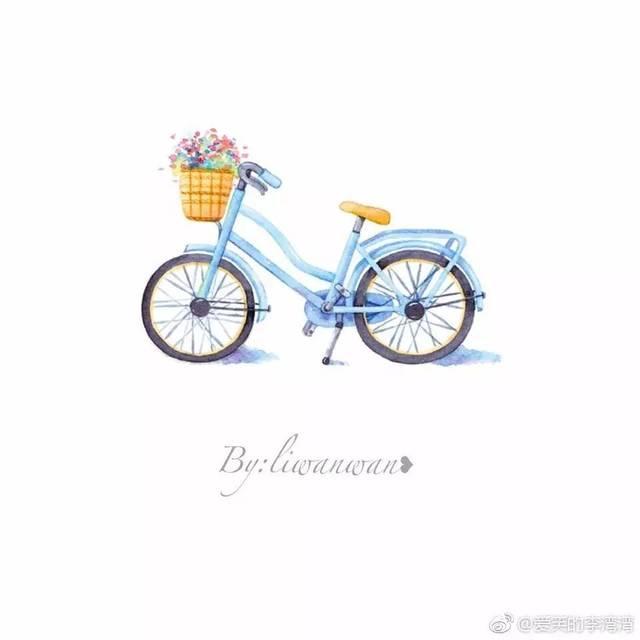 手账简笔画素材 | 单车和旅行(爱笑的李湾湾)-旅游