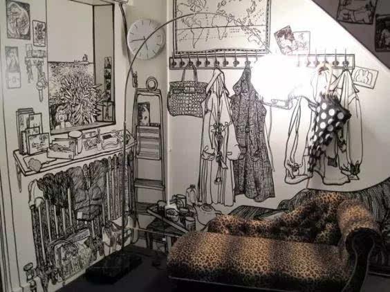 给自己家里添一面丙烯颜料手绘墙吧