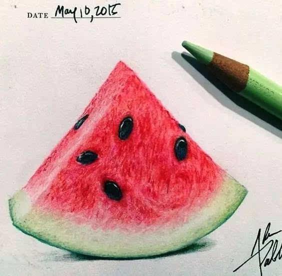 彩铅手绘西瓜图
