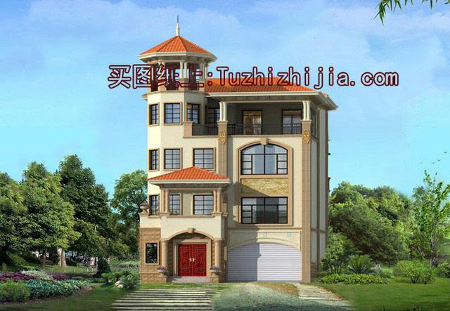 欧式四层半别墅设计图,带车库带露台,经典之作!