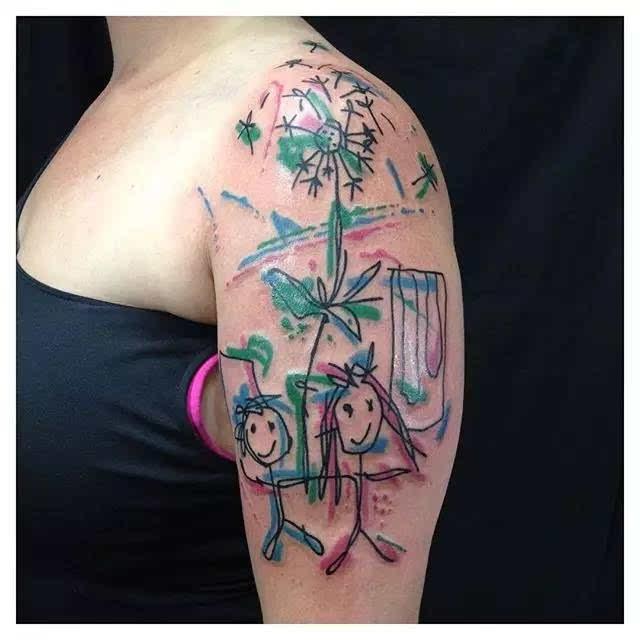 孩子给你设计的纹身图案,你敢纹么?大声告诉我!