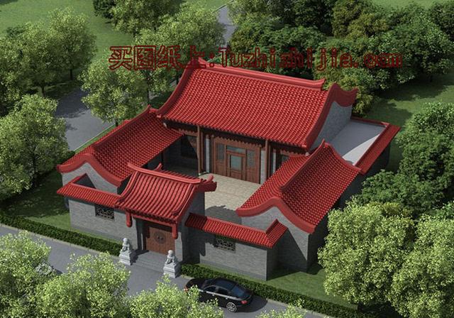 中式屋顶手绘效果图