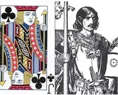 扑克牌里的梅花 j,原型就是圆桌骑士兰斯洛特.