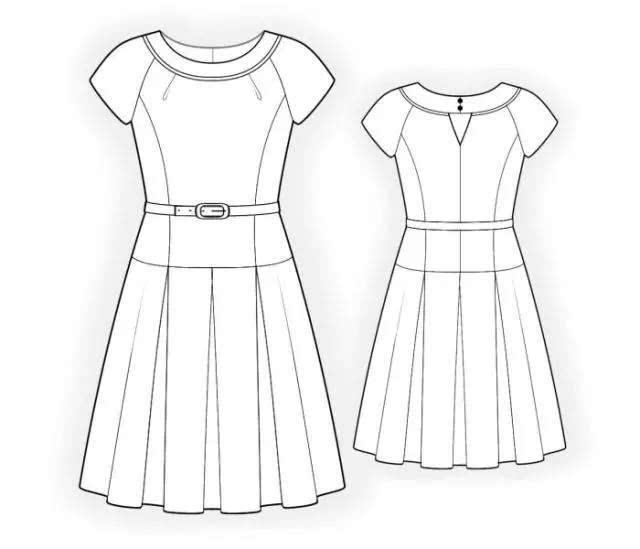h型裙子款式图手绘