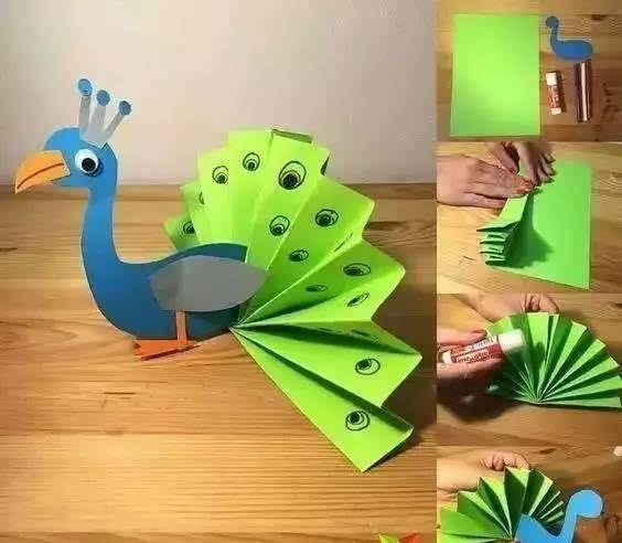 卡纸孔雀贴画怎么做